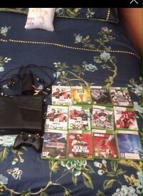 Xbox 360 console + 12 games + wireless controller