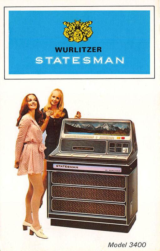 Wurlitzer Statesman Jukebox Model 3400 Original Vintage Advertising Postcard