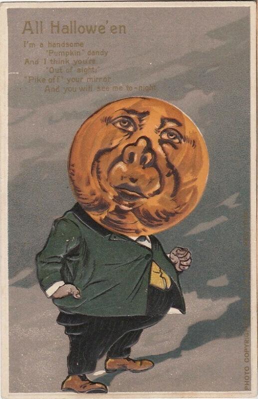 S21.1098 Vintage Halloween Unused Postcard Hard to Find Pumpkin Dandy 1910