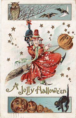 GOTTSCHALK DREYFUSS & DAVIS HALLOWEEN POSTCARD SERIES 2040 WITCH ON BROOM JOL](Davis Halloween)