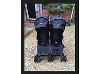 Silver cross pop duo twin stroller buggy pushchair black