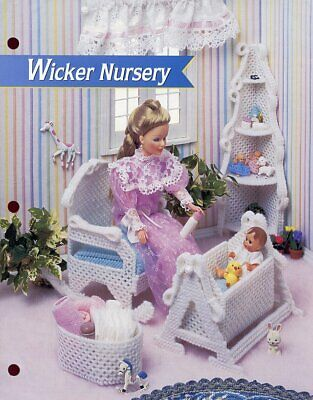 Wicker Nursery Furniture Rocker Cradle for Barbie Doll Plastic Canvas Pattern