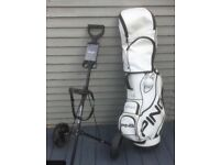 Set of left hand regal golf clubs with bag and trolley