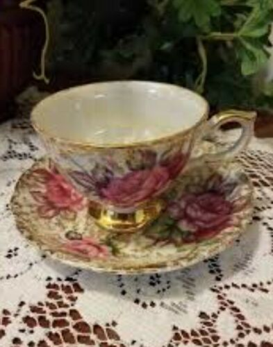 Elegant Rossetti 24k Rimmed Tea Cup And Saucer. Hand Painted From Japan.  - $39.95