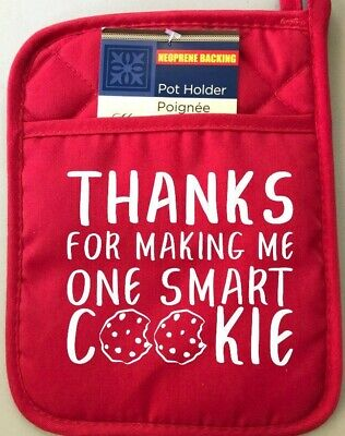 Thanks for Making Me One Smart Cookie Teachers Pot Holder RED Christmas