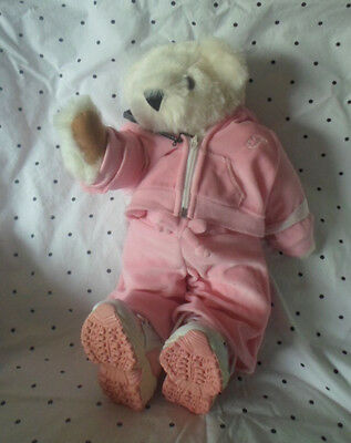 "Vermont Teddy Bear Co Pink Jogging 18"" Plush Soft Toy Stuffed Animal"