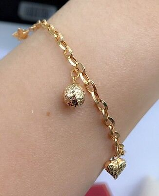 18k Solid Yellow Gold Cute Mix Charms Italy Bracelet, 7.25 Inches, 3.53 grams