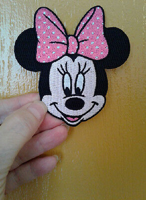 Minnie Mouse - Disney - Pink & White Bow - Fully Embroidered Iron On Patch](Pink Minnie Mouse)