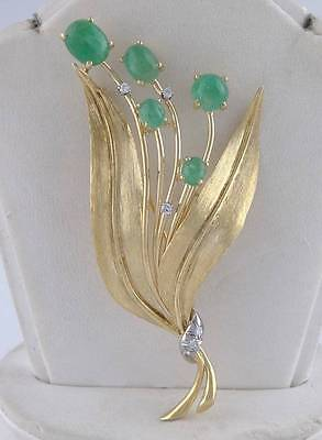 14K YELLOW WHITE GOLD 7.00ct CABOCHON EMERALD DIAMOND LEAF PIN BROOCH 3.12""