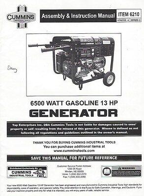 Cummins Assembly Instruction Manual For 6210 6500 Watt Gas 13hp Generator Pdf