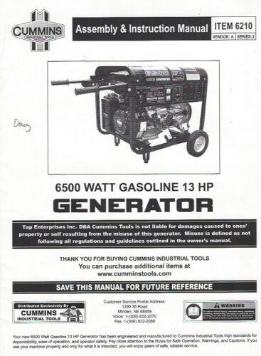 CUMMINS ASSEMBLY & INSTRUCTION MANUAL FOR 6210 6500 WATT GAS 13HP GENERATOR PDF