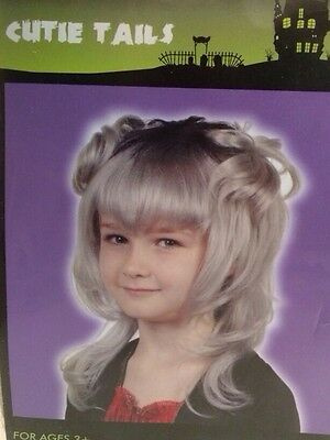 Halloween Wig Pig Tails Hair Piece One Size Gray Blonde - Halloween Pigtails