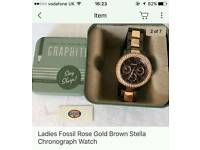 Fossil ladies Rose Gold Brown stella chronograph watch