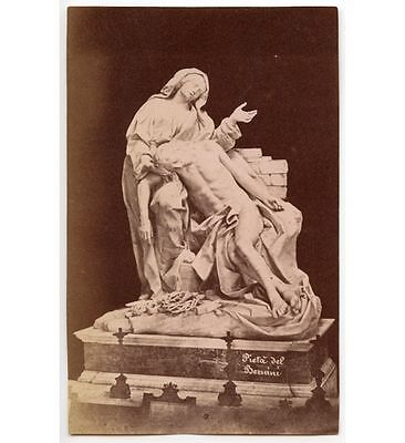 PIETA DEL BERNINI, ST. JOHN LUTHERAN, ROME 1881, ALBUMEN PRINT