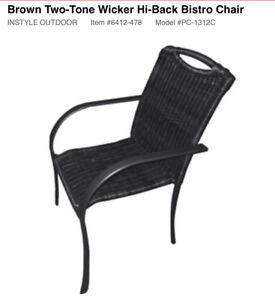 Wicker 2-Tone Bistro Chairs (LOT OF 6) *BRAND NEW*
