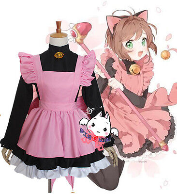 Cardcaptor Sakura Black Cat pink Maid Servant Dress Cosplay Costume Halloween
