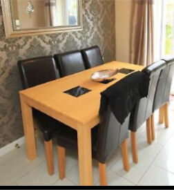 Real leather chairs Oak legs x6 plus free dining table.