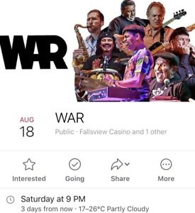 Pair of tickets to see WAR this Saturday
