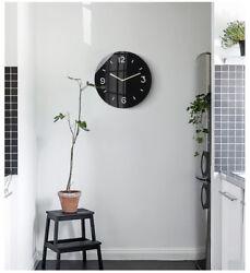 D303 Modern Style Black Mute Circular Glass Decoration Wall Clock 14 Inch A
