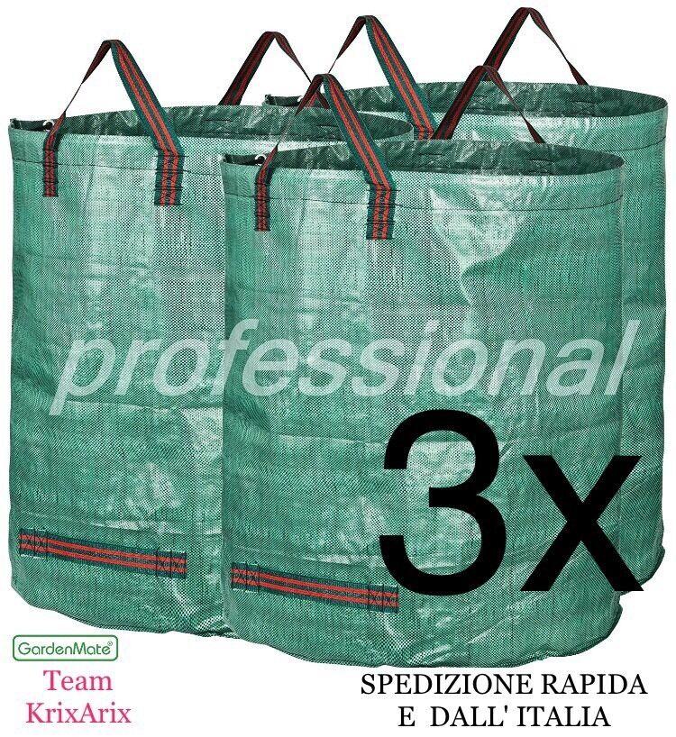 GardenMate® 3 Sacchi per i rifiuti da giardino 3x 272Lt Litri, SPEDIZIONE RAPIDA