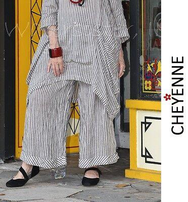 CHEYENNE TB0647 Linen WIDE LEG Cuffed Hem PANT  S/M  L/XL  NATURAL/BLACK STRIPE