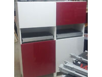 home office living room cabinet cupboard Ikea red and white with shelve oull out