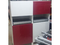 office home cupboard ikea Besta with red white door shelve pull out board desk cabinet