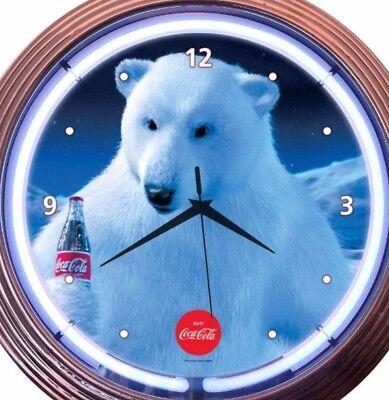 Coca Cola Polar Bear Neon Wall Clock Coke Logo Office Game Room Bar 15 Inch