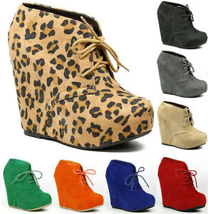 Faux-Suede-Lace-Up-High-Heel-Platform-Wedge-Ankle-Bootie-Boot
