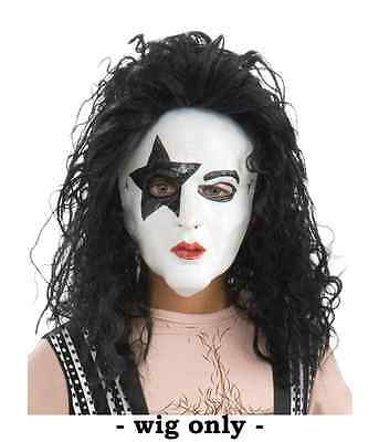 CHILD KISS COSTUME STARCHILD WIG PAUL STANLEY BLACK ROCKSTAR BOYS ONE SIZE 4+ - Kiss Kids Costume