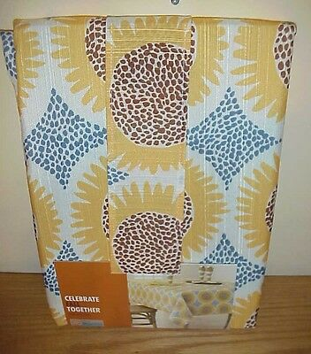 60x84 Fabric Tablecloth - Celebrate Fall Together Thanksgiving  Fabric Tablecloth Sunflowers 60 x 84  NIP