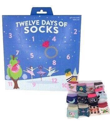 New 12 Days Of Socks Girls Crew Christmas Advent Calendar Size 2-5T Shoes Socks