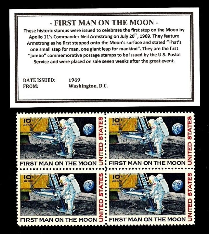 1969 Apollo 11 First Man On The Moon United States Postage Stamps Block 8S C76