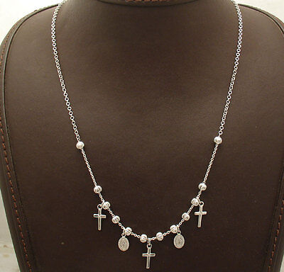 Adjustable Ball Bead Cross Rosary Chain Necklace Platinum Clad Sterling Silver  Chain Platinum Cross