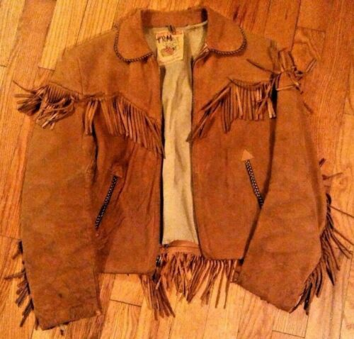 Roy Rogers Boys Western Vintage 1950s Buckskin Leather Suede Fringe Jacket Coat