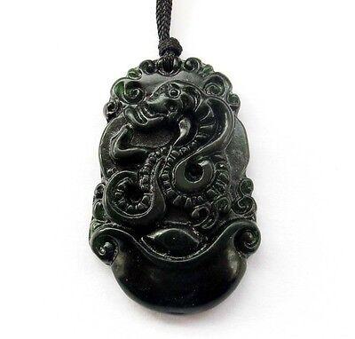 Lucky Chinese Zodiac Snake Yuanbao Money Black Green Jade Gem Amulet Pendant Chinese Snake Zodiac Pendant