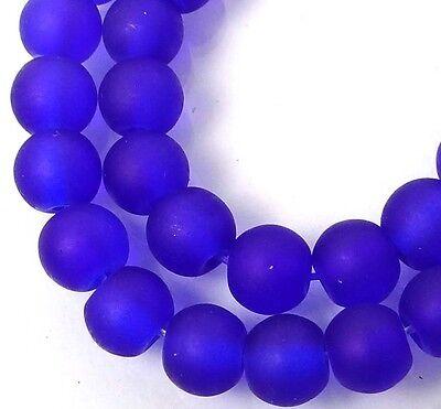 50 Czech Frosted Sea Glass Round Beads - Matte - Cobalt 6mm