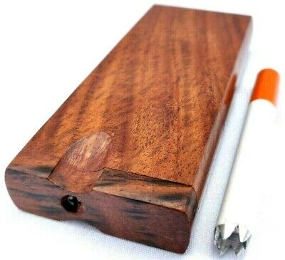 Sisso Rosewood Dugout Stash Box + Grinder Tip One Hitter & 2 mini Brass Screens Rosewood Mini Box
