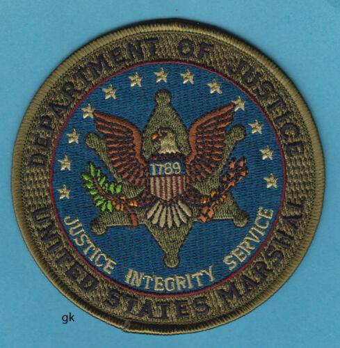 """US MARSHAL DEPT OF JUSTICE  SHOULDER PATCH POLICE  4""""  (Subdued -  Green / Blue)"""