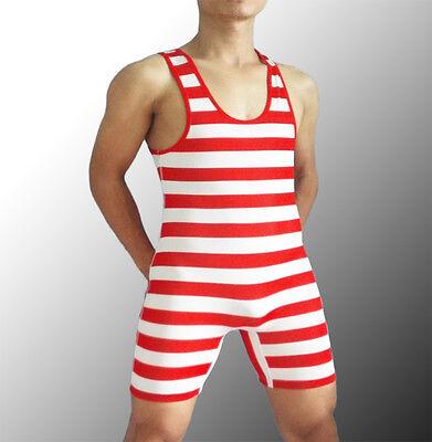 (Custom Man horizon Stripes Wrestling Singlet One Piece Gym Power Outfit Tights)