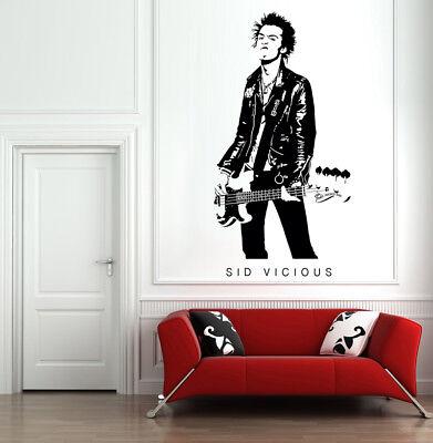 SID VICIOUS Wall Decal Sex Pistols Punk Rock UK Art Home Decor - Punk Rock Decor