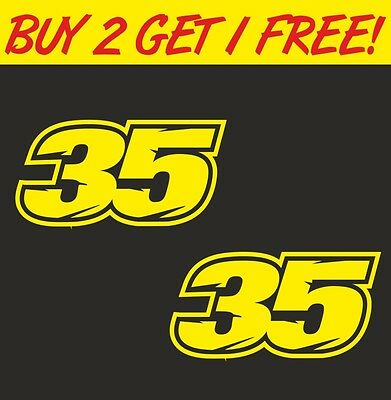 2 x Number 35 Cal Crutchlow Moto GP Decal Stickers