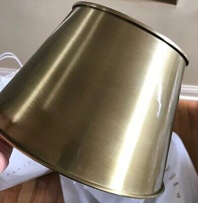 Pottery Barn Classic Tapered Hood Drum Lamp Shade Round Brass Metal Small