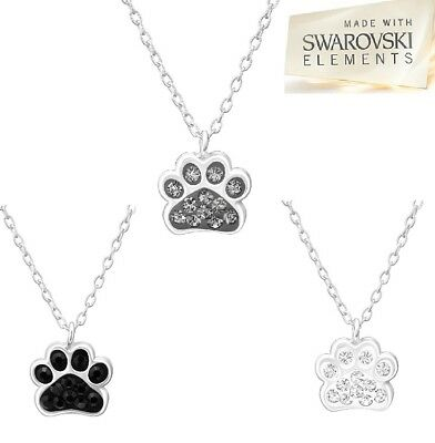 Sterling Silver Necklace Swarovski® Crystal Paw Print Dog Pendant UK SELLER 16