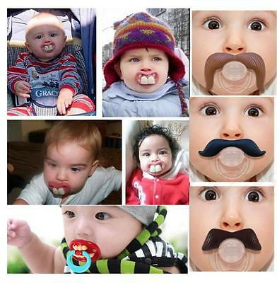 Funny Dummy Dummies Pacifier Novelty Teeth Moustache Baby Child - Novelty Pacifiers