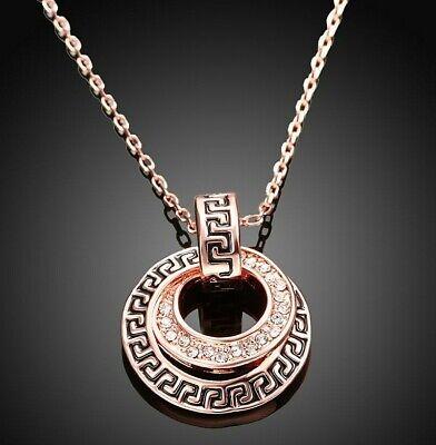 Greek Pave Medallion Necklace made with Swarovski Crystals in 14K Rose Gold 18