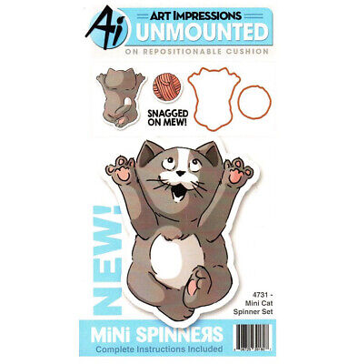 Art Impressions Mini Spinners Die & Unmounted Rubber Stamp Set Cat Dice Spinner Set
