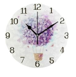 Universal Purple Wall Clock Home Decor 9.8 Silent for Kids, Living Room,Kitchen