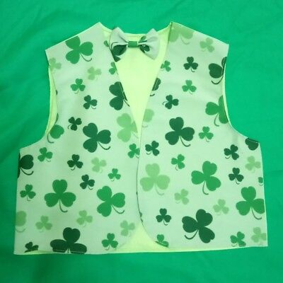 Kids Boys Girls Shamrock Irish Waistcoats Fancy Dress 2-4 6-8 10-11 S M L