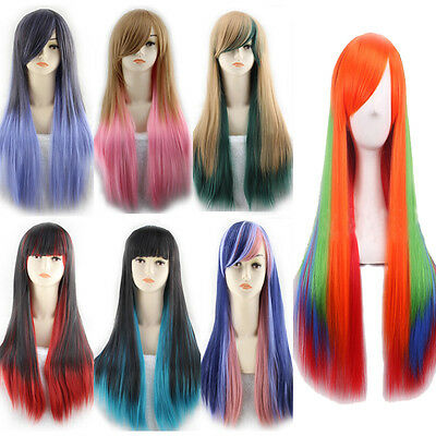 Costume Hair Color (Women 70cm Long Straight Multi-Color Wigs Cosplay Costume Anime Hair Full)